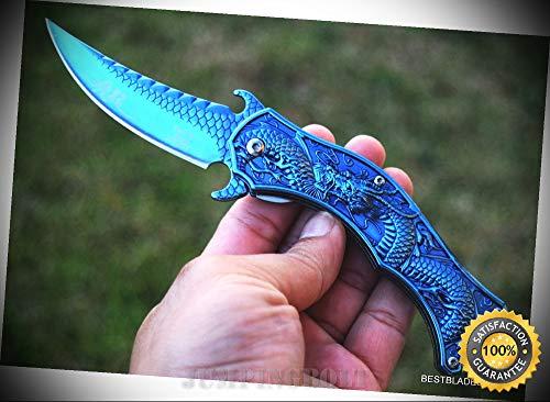 FANTASY SPRING ASSISTED SHARP KNIFE DRAGON DESIGN WITH POCKET CLIP - Premium Quality Hunting Very Sharp EMT EDC (Dragon Graphite)