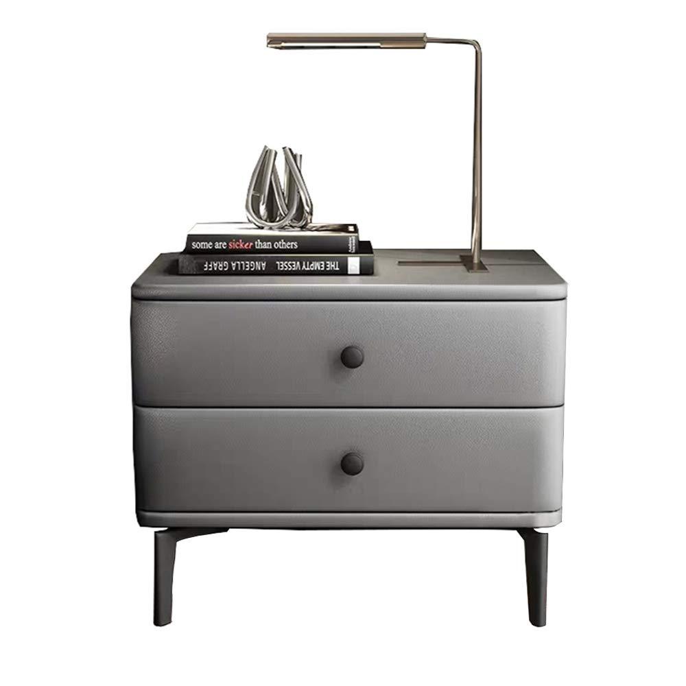 Nachttisch aus nordischem grauem PU-Leder mit 2 Schubladen, Aufbewahrungstisch aus Kiefernholz, luxuriöses Wohnzimmer, Schlafzimmer, Nachttisch, 50 x 40 x 47 cm