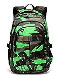 BLUEFAIRY Boys School Backpacks For Girls Kids Elementary School Bags Bookbag (Camo Green)
