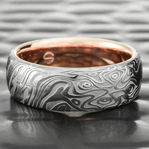 Mokume Wedding Ring - Damascus Steel Polished Domed Wedding Ring for Men with 14k Rose Gold Liner | STAR