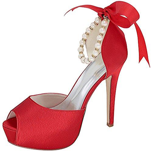 Loslandifen Women's Peep Toe Satin Pearls Ankle Strap Ribbon Bow High Heel Wedding Bridal Shoes(3128-22Silk39,Red) -