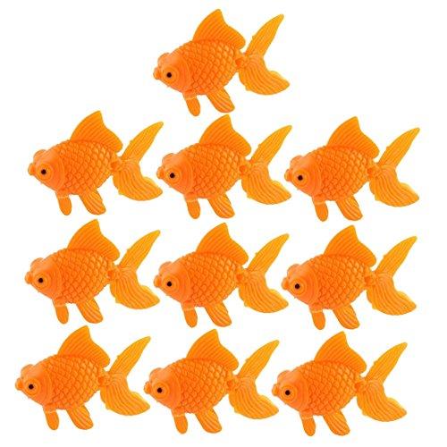 SODIAL Aquarium Orange Plastic Goldfish Ornament Aquarium Decoration 10 pcs