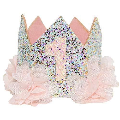 - Glitter 1/2 1st 2 3 Birthday Princess Flower Floral Crown Tiara Cake Smash Photo Prop (Glitter Light Pink 1)