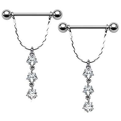 29a62ddd22f23f Amazon.com: Body AccentzTM Nipple Ring Bars Dangle Stars Body Jewelry Pair  14 gauge: Jewelry