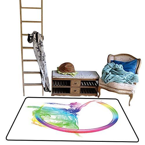 Indoor Floor mat,Smoke Dance Shape Silhouette of Dancer Ballerina Rainbow Colors Fantasy 48