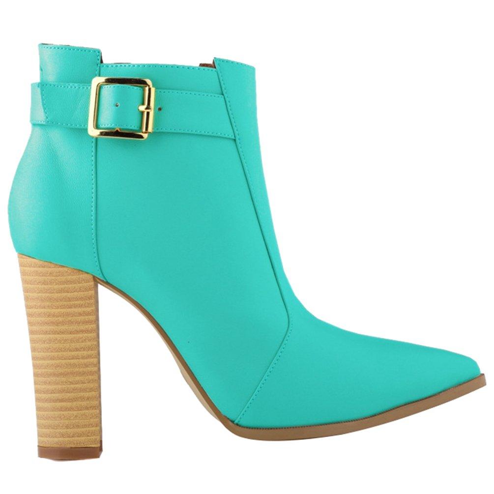 WanYang Frauen Boots High Heel Damen Stiefeletten Absatz Ankle Fruuml;hling und Herbst39 EU(Fu?l?nge:245CM/964? Gr眉n