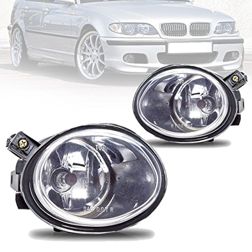 Fog Lights For BMW E46 M3 2001-2006 E39 M5 2000-2003 330I Sedan with ZHP Package 2003-2005 330CI Coupe & Convertible with ZHP Package 2004-2006 (Clear Real Glass Lens w/9006 12V 55W Bulbs)