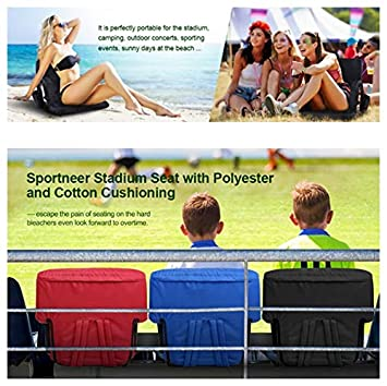 HISHINE-Portable Stadium Seat Reclining Seat Chair 20.5//24.4 Water Resistant