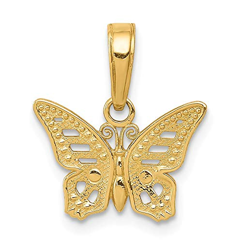 FB Jewels Solid 14K Yellow Gold Cut-Out Butterfly Pendant Cut Out Butterfly Pendant