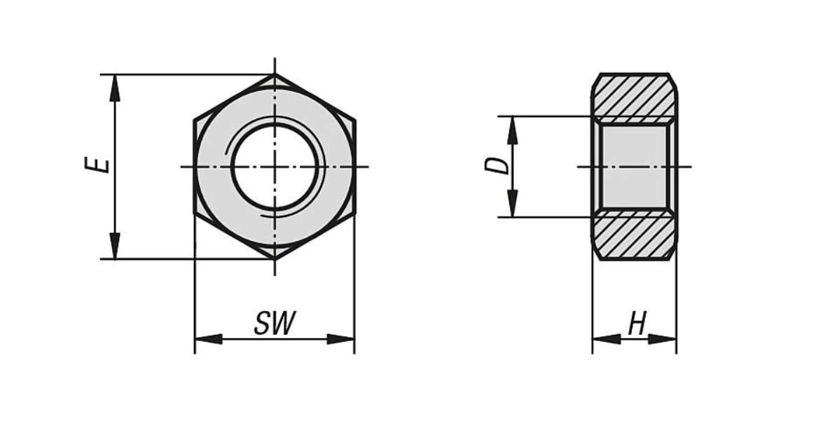 x100 Tuercas Hexagonales Acero Inoxidable DIN 934 M4