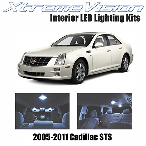 XtremeVision Cadillac STS 2005-2011 (12 Pieces) Cool White Premium Interior LED Kit Package + Installation Tool