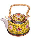 Purpledip Beautifully Painted Ceramic Kettle 1 litre Steel Strainer Included (10541)
