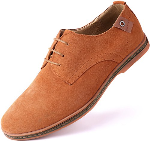 Flat Men Shoes Casual (Marino Suede Oxford Dress Shoes for Men - Business Casual Shoes (Tan, 9.5))