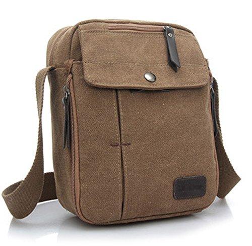 Ecokaki(TM) Canvas Small Messenger Bag Casual Shoulder Bag Travel Organizer Bag Multi-pocket Purse Handbag Crossbody Bags, Coffee by Ecokaki