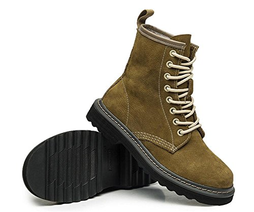 Shoes Outdoor NVXIE Real Ankle Spring Martin EUR38UK55 Leather GREEN Boots Flat Style Women's Autumn British Black Leisure wwzxB
