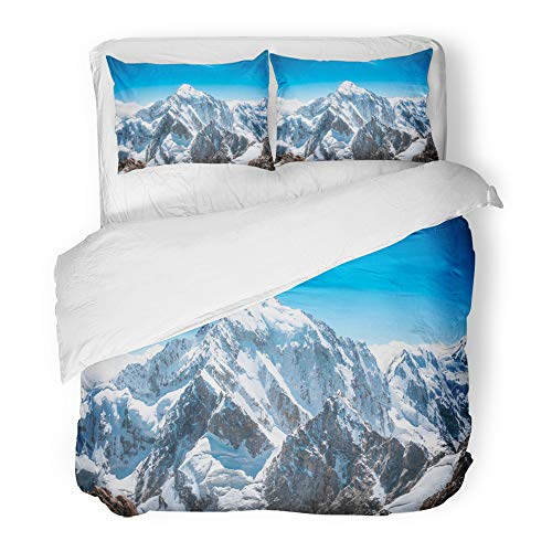Emvency Decor Duvet Cover Set Full/Queen Size Blue Mount Mountain Peak Everest National Park Nepal Himalaya 3 Piece Brushed Microfiber Fabric Print Bedding Set Cover -
