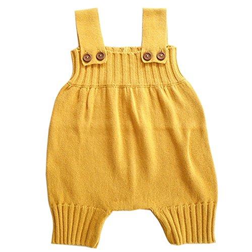 (Wennikids Baby Girls Boys Sweater Shoulder Strap Romper Large Yellow)