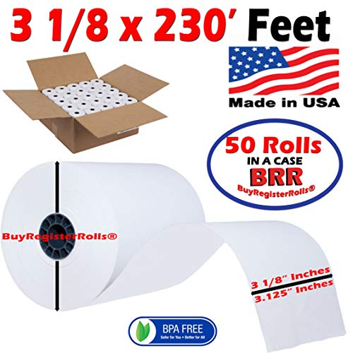 Thermal paper roll 3 1 8' x 230 POS-X XR510 thermal receipt printer (50 Rolls) BPA Free Made in USA From BuyRegisterRolls. ()