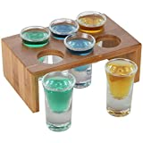 Lily's Home Bamboo Shot Glass Holder Set with 6 Crystal Clear Shot Glasses, Easy to Carry and Sophisticated to Display, Ideal for Liquor Shots at Parties (1 oz. Each Glass)