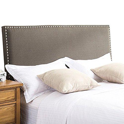 Andeworld Classic Nailhead Upholstered Height Adjustable Eastern King / California King Size Headboard Pepper