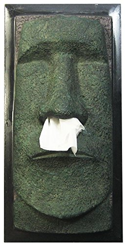 Rotary Hero Moai Tissue Box Cover, Poliestere, Marrone UE04217