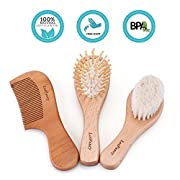 3PCS Baby Hair Brush and Comb Set for Toddlers Infant and Newborn,Natural Wooden Soft Goat Bristle Brush for Wash | Baby Registry Must Haves