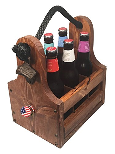 Wood Beer Caddy with Bottle Opener & Magnetic Cap Catch, 6-P