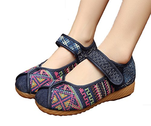 hinese Traditional Batik Patchwork Rubber Sole Mary Jane Shoes, Blue, 39 (Patchwork Flat Shoes)