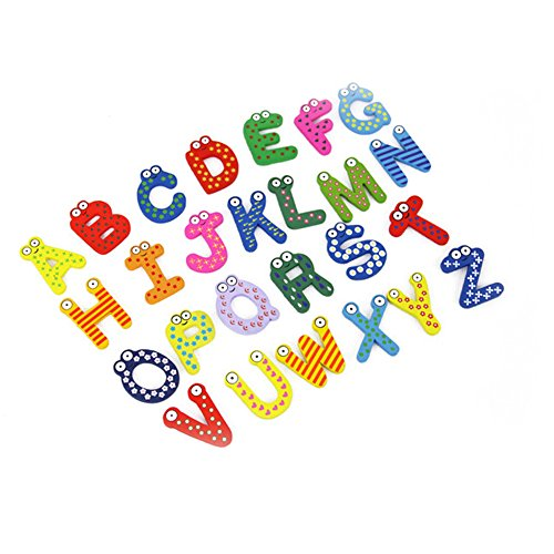 26 Pcs Wooden Magnetic Numbers Letters Alphabet a to Z Fun Bright Colorful Preschool Toddler Toy Learning Reading Spelling Educational Refrigerator Magnet