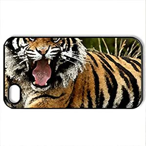 Bengal Tiger - Case Cover for iPhone 4 and 4s (Cats Series, Watercolor style, Black)