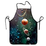 RZ GMSC Novelty Solar System Planets Revolution Unisex Kitchen Chef Apron - Chef Apron For Cooking,Baking,Crafting,Gardening And BBQ