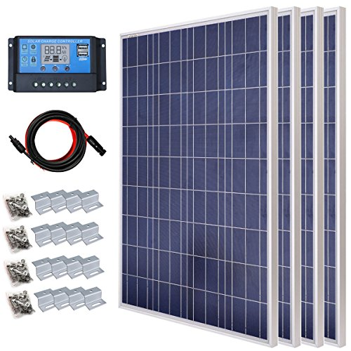 ECO-WORTHY 400 Watts Polycrystalline Solar Panel Kit Off Grid: 4pcs 100W Poly Solar Panel + 20A PWM LCD Charge Controller + Solar Cable Adapter + Z Bracket Mounts