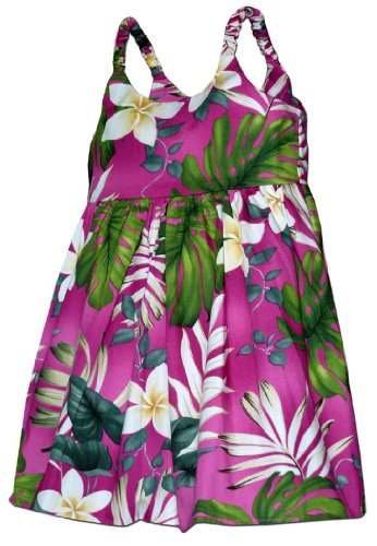 Pacific Legend Girls Frangipani Monstera Fern Toddler Bungee Dress Pink 5-6 for 3 yrs old by Pacific Legend