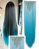 Hairpieces Clip in Synthetic Hair Extensions Japanese Kanekalon Fiber Full Head Thick Long Straight Soft Silky 8pcs 18clips for Women Girls Lady 26'' / 26 inch (Sky Blue)