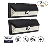 Upgraded Solar Lights, 54 LED 2835 SMD Solar Power Wall Light Outdoor Security Lighting Nightlight with Motion Sensor Detector for Garden Back Door Step Stair Fence Deck Yard Driveway (2 Pack)