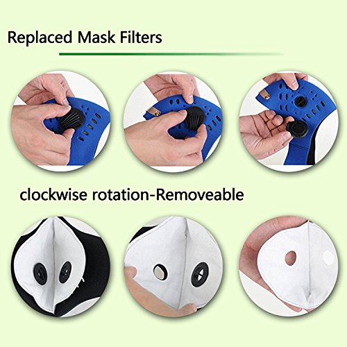Dustproof Masks - Activated Carbon Dust Mask with Extra Filter Cotton Sheet and Valves for Exhaust Gas, Pollen Allergy, PM2.5, Running, Cycling, Outdoor Activities (4 Set Black and Blue, Dust Masks) by Novemkada (Image #4)