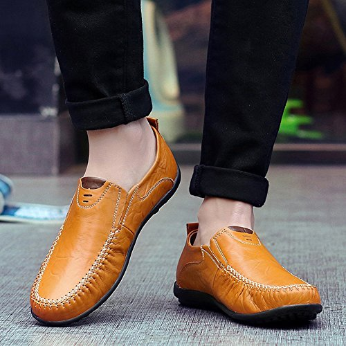 Leather Stylish on Boat Shoes Round Toe Men's Flats Top Slip Low Driving Loafers Yellow Mofri CEv58qFxwF