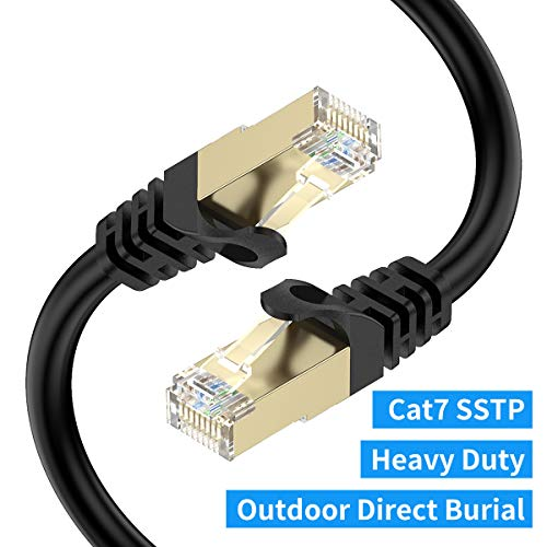 Cat7 Ethernet Cable 150ft, BIFALE Cat7 Outdoor Cable Triple Shielding SSTP 10Gbps 600MHz Ethernet Patch Cable for Modem Router LAN RJ45, UV/Water Proof, Direct Burial, PE Jacket