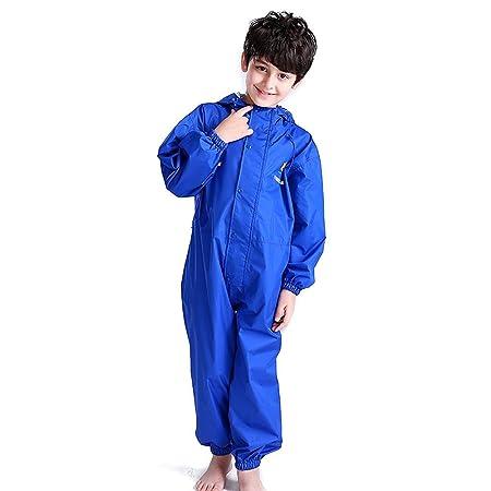 Bwiv Regen-Overall Regenanzug Wasserdicht Kinder Regenbekleidung Alles in Einem für Mädchen und Jungen Draussen Täglich 2-14