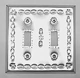 Artesanos Beveled Shiny Tin Toggle Switch Cover Double Switch