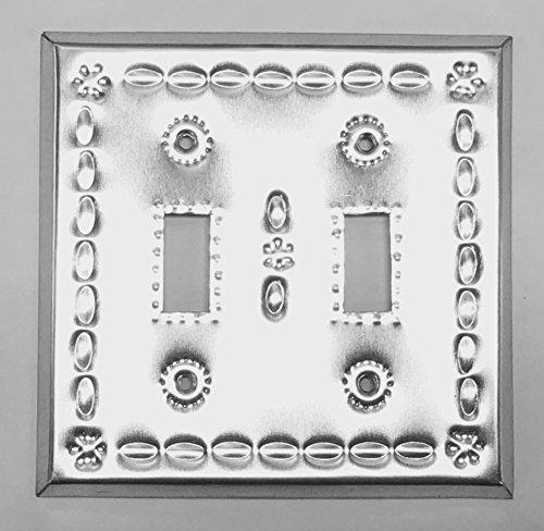 Artesanos Beveled Shiny Tin Toggle Switch Cover Double Switch by Artesanos Imports Company