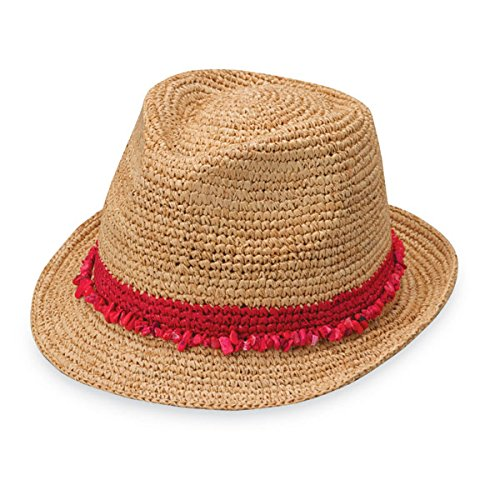 Wallaroo Hat Company Women's Tahiti Sun Hat - Fedora-Style Sun Hat, Red (Summer Red Straw)
