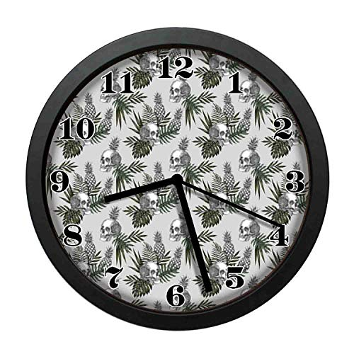 Goth Clock - wojuedehuidamai6 Art Wall Clock- Goth Figure in Tropical Pineapples Leaves Modern Jungle Decor Wall Clock for Home and Office with 10in