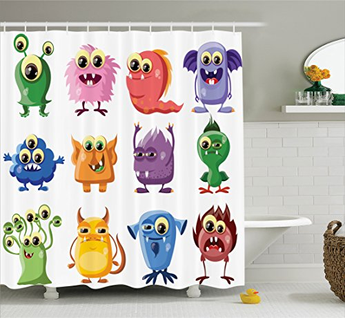 Ambesonne Funny Decor Shower Curtain Set, Animated Bacteria Aliens Theme Germ Whimsical Cartoon Monsters with Humor Faces Graphic Artwork, Bathroom Accessories, 84 Inches Extralong, Multi