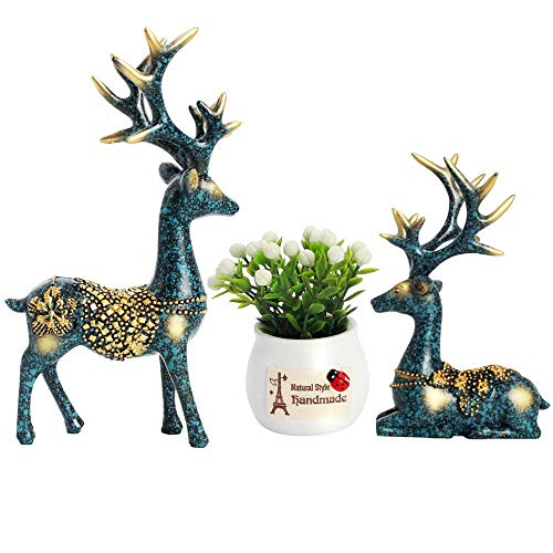 ACCOCO Set of 2 Deers with Plastic Plant Pot Car Interior Dashboard Decoration, Delicate Resin Deer Decorative Ornaments for Car Home Desk Docoration (Deer Decorations)