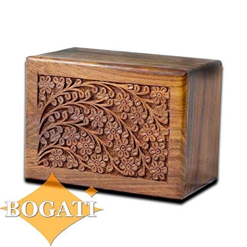 (Tree of Life Hand-Carved Rosewood Urn Box - Medium)
