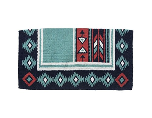 Used, Tough 1 Cherokee Wool Saddle Blanket Teal/Black for sale  Delivered anywhere in USA