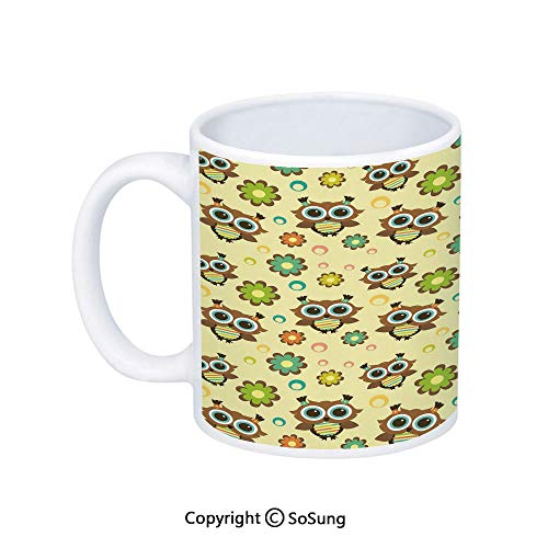 Nursery Coffee Mug,Cute Owls with Flowers Colorful Circles Abstract Animal Design Decorative,Printed Ceramic Coffee Cup Water Tea Drinks Cup,Brown Fern Green Pale Green ()
