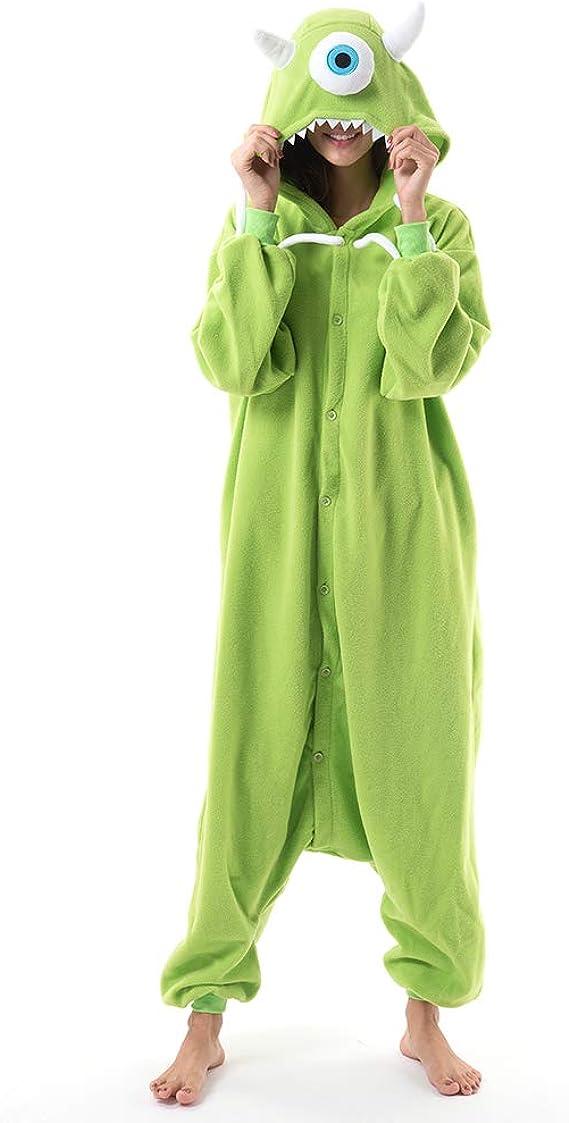 Beauty Shine Unisex Adult Animal Mike Wazowski Onesies Halloween Costume Plush Pajamas