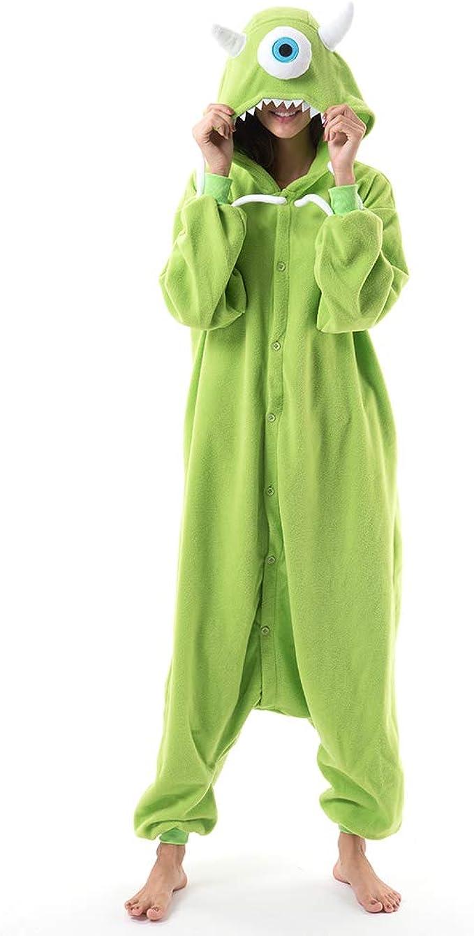 Amazon Com Beauty Shine Unisex Adult Animal Mike Wazowski Onesies Halloween Costume Plush Pajamas Clothing